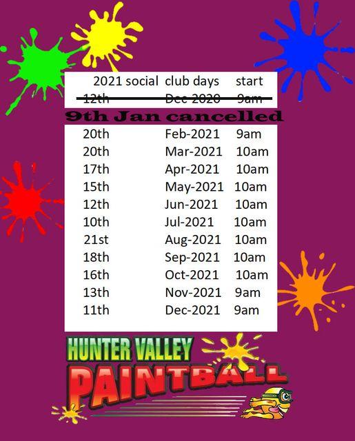 hunter valley paintball social club calendar